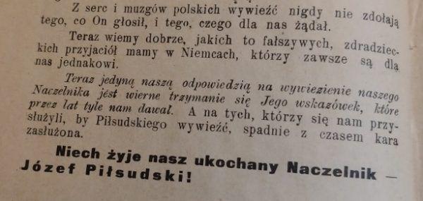 Fragment ostatniej strony broszurki Nasz Naczelnik.