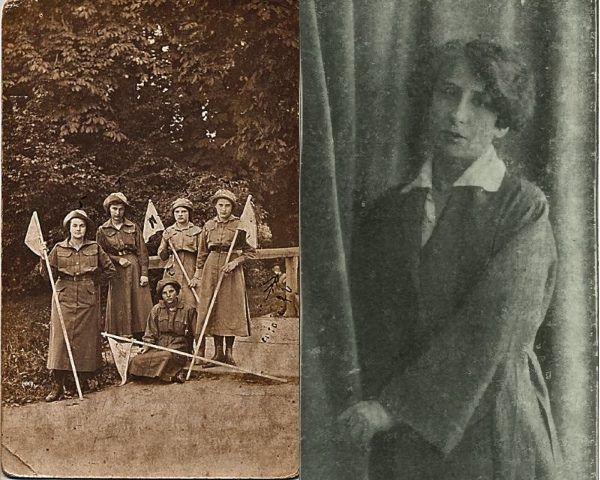Harcerki POW z Kielc (rok 1916, z lewej) oraz jedna z najbardziej zasłużonych członkiń Oddziału Żeńskiego, Stanisława Waroczewska.