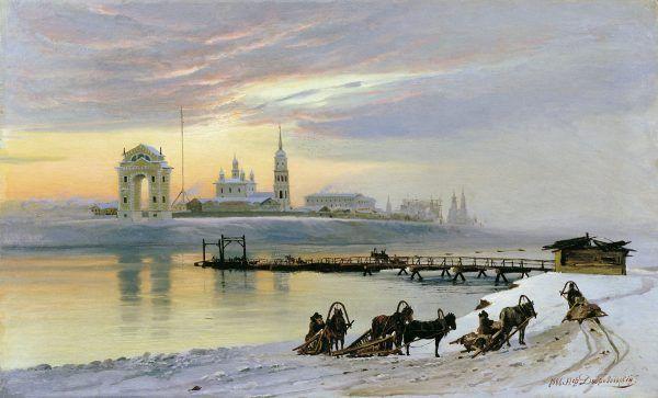 Irkut zimą na obrazie z początku XX wieku