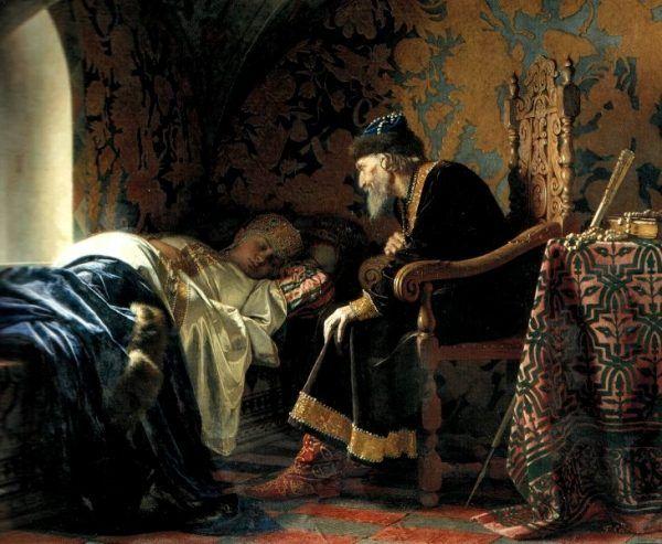 Iwan Groźny podziwia swoją śpiącą żonę Wasylisę (fot. domena publiczna)