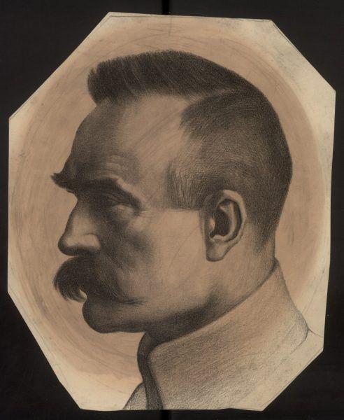 Józef Piłsudski na litografii Adama Grabowskiego