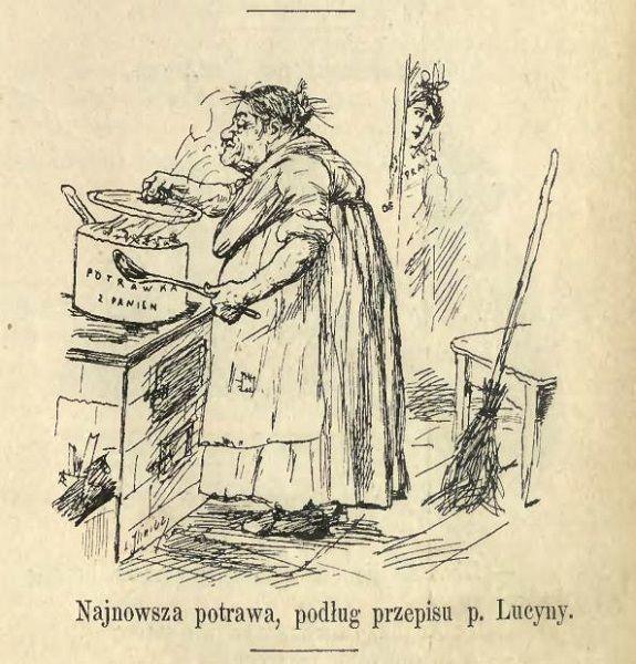 """Karykatura Ćwierczakiewiczowej jaka ukazała się w czasopiśmie satyrycznym """"Mucha"""" w 1899 roku, gdy prasa zaczęła krzyżować kucharkę za tekst o pannach do towarzystwa (fot. domena publiczna)"""