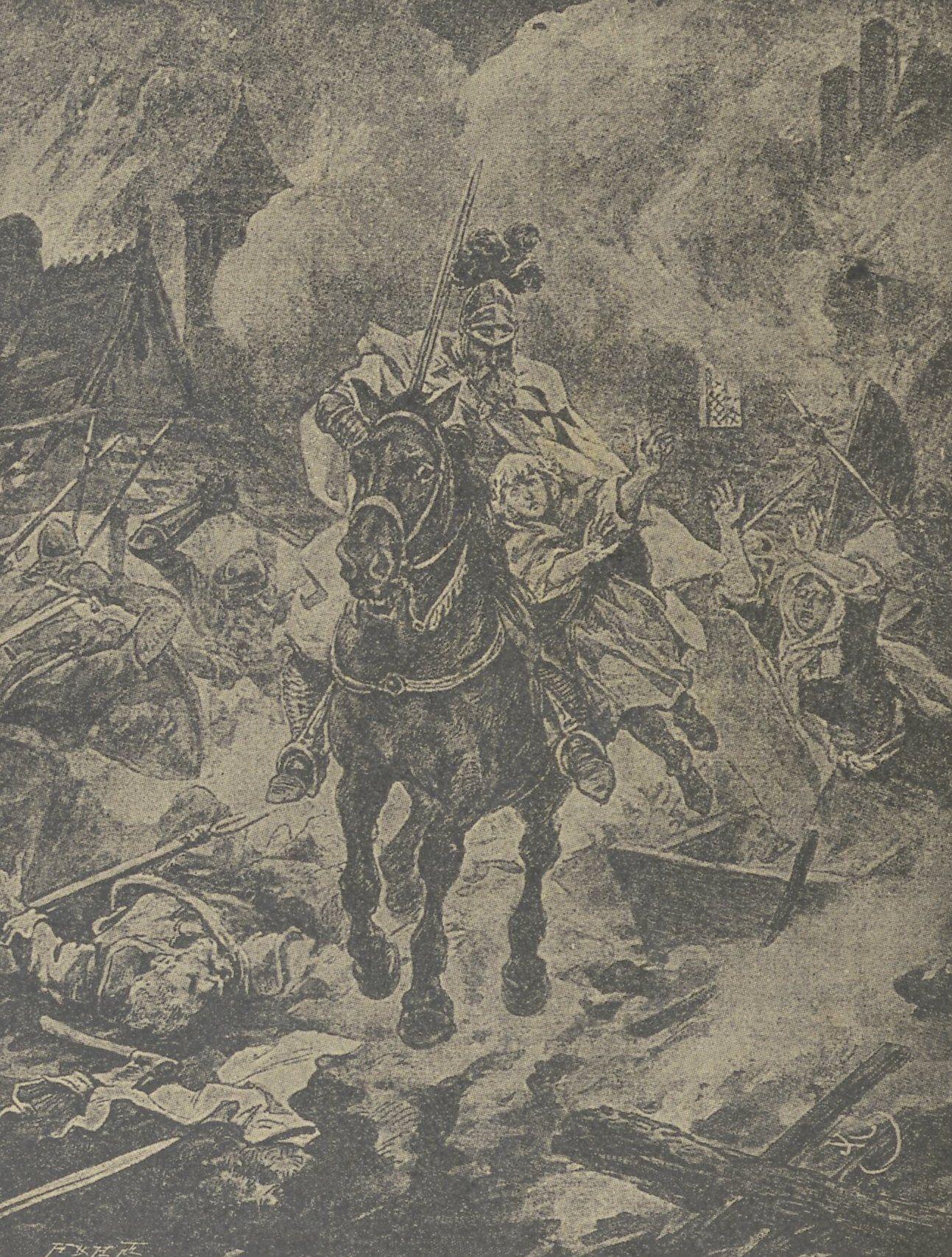 XIX-wieczny rysunek przedstawiający Krzyżaka wracającego z łupem z wyprawy.XIX-wieczny rysunek przedstawiający Krzyżaka wracającego z łupem z wyprawy.