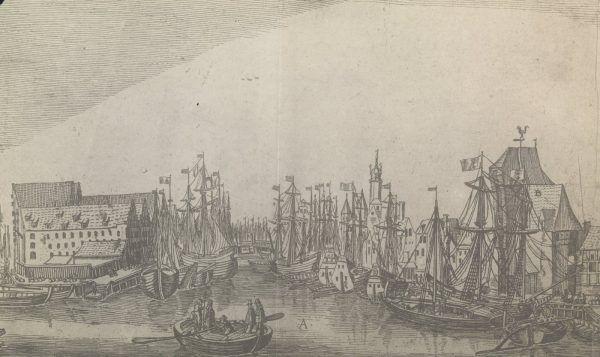 Gdański port na akwaforcie Aegidiusa Dickmanna z początków XVII wieku.