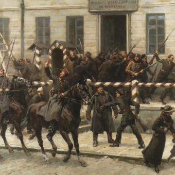 Przejmowanie władzy od Niemców w listopadzie 1918 roku na obrazie Stanisława Bagieńskiego.