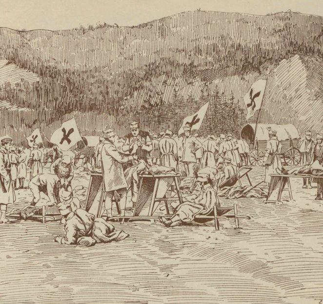 Punkt sanitarny Legionów na Wołyniu na rysunku Franciszka Zajchowskiego