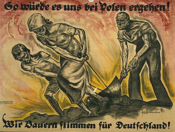 Jedna z grafik autorstwa przedwojennego chłopaka Pomsel, pół-Żyda Fritza Gottfrieda Kirchbacha, ukazująca wyższość Niemiec nad Polską.