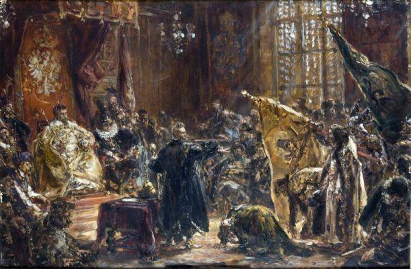 Wasyl Szujski przyprowadzony przed oblicze Zygmunta III. Chwila triumfu polskiego władcy (fot. domena publiczna)