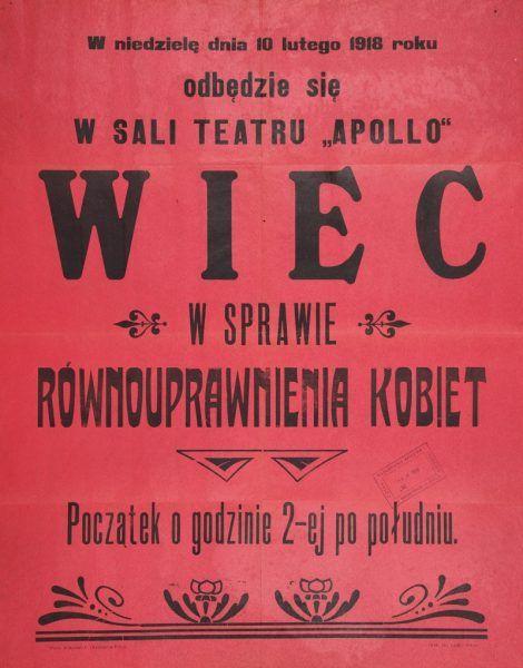 Wiec w sprawie równouprawnienia kobiet. Afisz rozlepiany w Kiecach na początku 1918 roku.