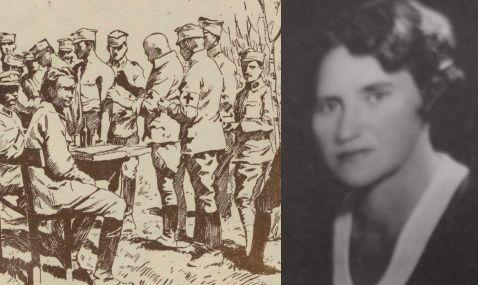 Z lewej - szczepienie legionistów na rysunku Franciszka Zajchowskiego. Z prawej - Maria Wołoszynowska na fotografii portretowej.