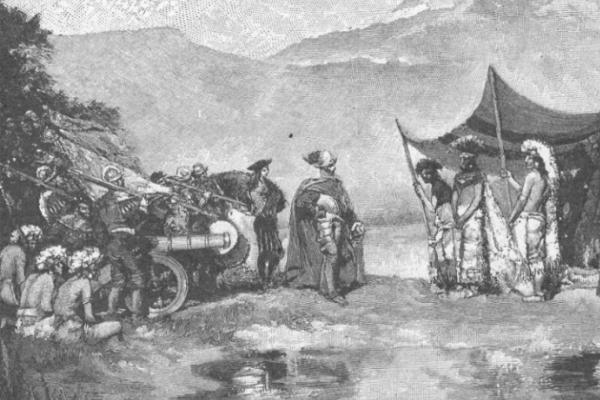Srebro, zdobywane na terytoriach Inków i Azteków, stało się podstawą potęgi Hiszpanii – a następnie ją pogrążyło. Na ilustracji Hernan Cortes i Montezuma.