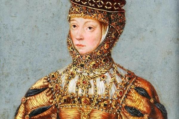 Barbara Radziwiłłówna na obrazie z warsztatu Łukasza Cranacha Młodszego.
