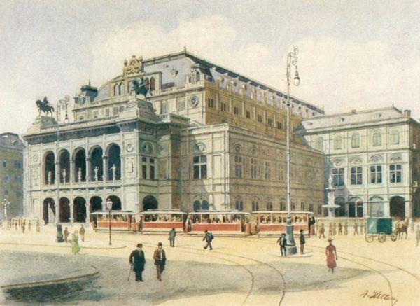 Przyszłemu dyktatorowi najlepiej wychodziło malowanie budynków, takich jak gmach Opery Wiedeńskiej.