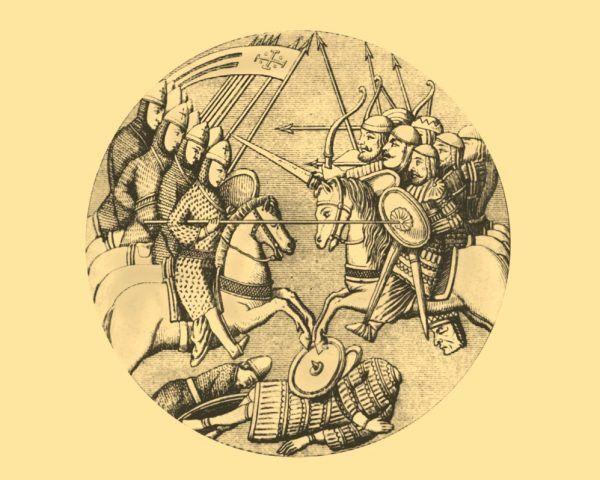 """Wyobrażenie bitwy Niemców ze Słowianami w XI wieku, znajdujące się na reliefie w katedrze w Moguncji. Ilustracja i podpis z książki """"Polskie triumfy""""."""