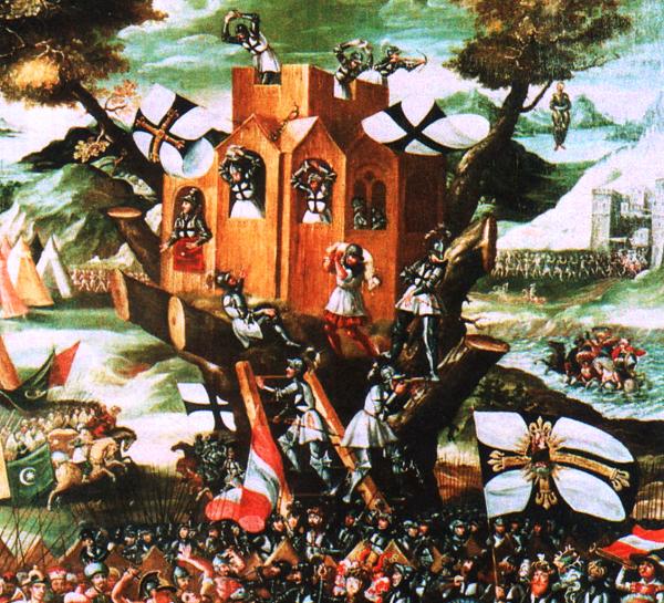 Krzyżacy na zdobytych ziemiach budowali twierdze, by umocnić swoją władzę. Na ilustracji obrona Baumburga (1231).