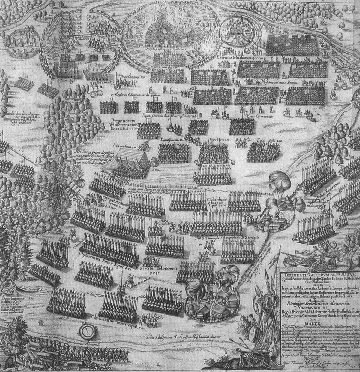 Nasze wojska zaskoczyły Rosjan we śnie. Na ilustracji XVII-wieczny miedzioryt przedstawiający bitwę pod Kłusznymem.