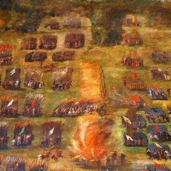 Fragment obrazu Szymona Boguszowicza przedstawiającego bitwę pod Kłuszynem w 1610 roku.