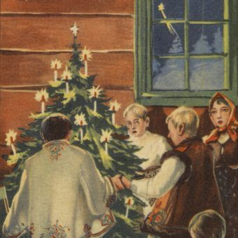 Kartka bożonarodzeniowa wydana przez Krakowski Komitet Okręgowy Towarzystwa Popierania Budowy Publicznych Szkół Powszechnych w 1937 roku (fot. NAC, domena publiczna)
