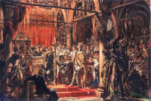 Kazimierz najprawdopodobniej przyglądał się koronacji swojego dziadka, Bolesława Chrobrego. Obraz Jana Matejki.