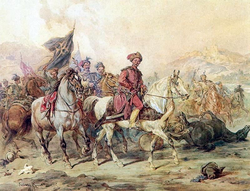 Lisowczycy na akwareli Juliusza Kossaka.