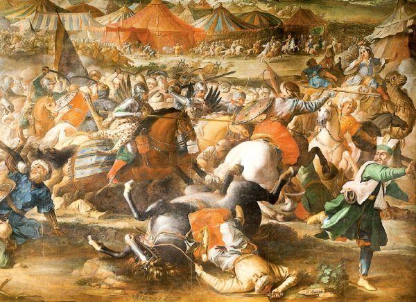 """Aby przestraszyć wroga husarze zakładali skóry drapieżnych zwierząt oraz doczepiali sobie skrzydła. Widać to między innymi na tym fragmencie XVII-wiecznego obrazu Marcina Altomonte """"Bitwa pod Wiedniem""""."""