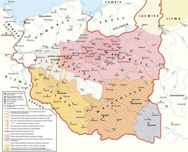 Kazimierz uratował Polskę od niemal całkowitego rozpadu. Na mapie kształt jego państwa i odzyskane dzielnice.