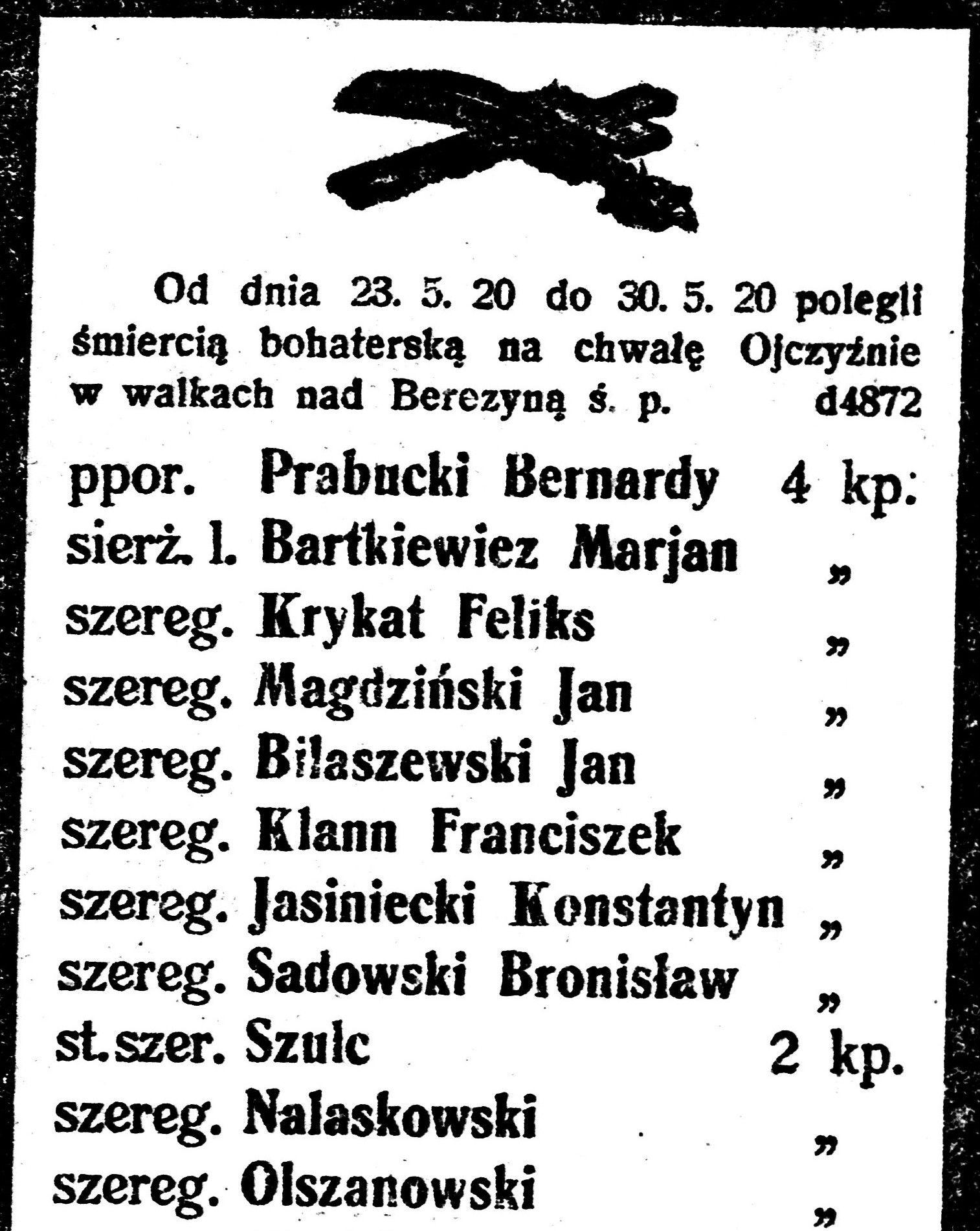"""W zaciętej walce z bolszewikami poległ między innymi dowódca 4 kampanii podporucznik Prabucki. Na ilustracji nekrolog zamieszczony w """"Kurjerze Poznańskim"""". Przekręcono w nim nazwisko sierżanta Butkiewicza."""