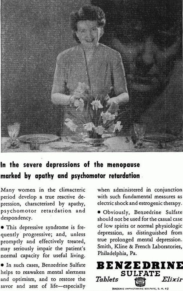 Mimo świadomości wielu efektów ubocznych benzedrynę reklamowano po II wojnie światowej jako cudowny środek na wiele schorzeń.