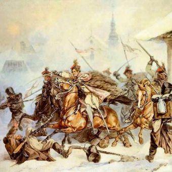 Szarża Krakusów na Rosjan w Proszowicach w 1846 (fot. domena publiczna)