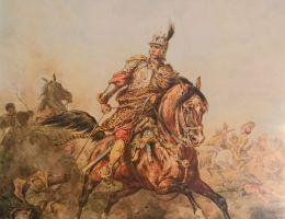 """Czy husarze byli żołnierzami doskonałymi? Na ilustracji akwarela Juliusza Kossaka """"Towarzysz husarski""""."""