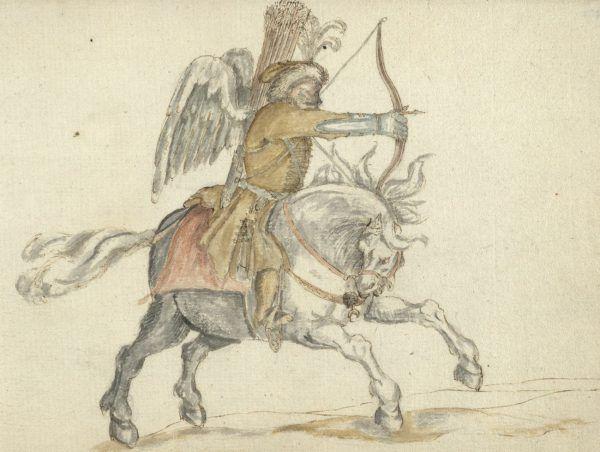 """Uskrzydlony jeździec polski (zapewne Tatar) w 1627 r. (Abraham van Booth, Journael van de Legatie in Jaren 1627 en 1628,Amsterdam 1632). Ilustracja i podpis z książki """"Husaria. Duma polskiego oręża"""","""