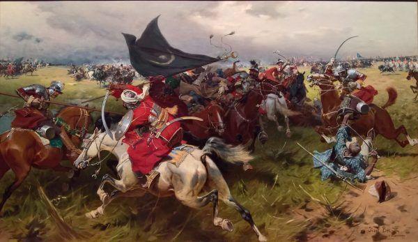 """Charles Ogier podziwiał tężyznę polskiej piechoty, jednak to nasza kawaleria zrobiła na nim piorunujące wrażenia. Na ilustracji obraz Józefa Brandta """"Walka o sztandar turecki""""."""