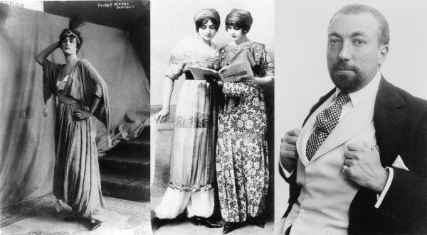 """Jako jeden z pierwszych tak zwane """"suknie spodniowe"""" czy """"spódnico-spodnie"""" zaproponował Paul Poiret (z prawej). Projekty te na pierwszy rzut oka trudno było odróżnić od zwykłych sukien."""