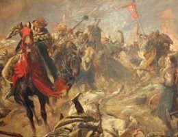 """Pod Chojnicami Krzyżacy wzięli krwawy odwet za Grunwald. Na ilustracji obraz Fritza Grotemeyera """"Bitwa pod Chojnicami 1454""""."""