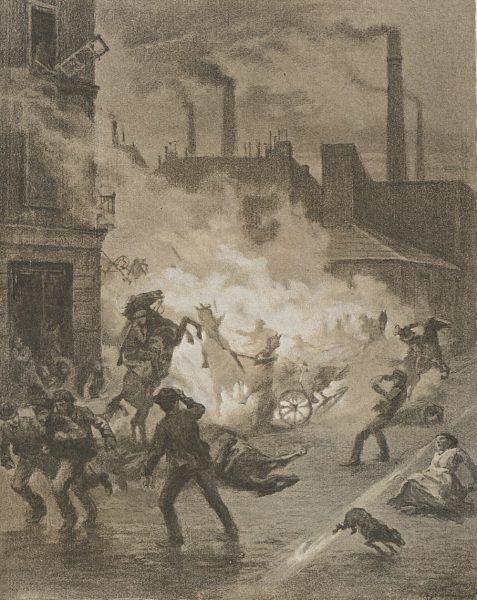 Eksplozja bomby w trakcie zajść rewolucyjnych. Rysunek Antoniego Kamieńskiego.