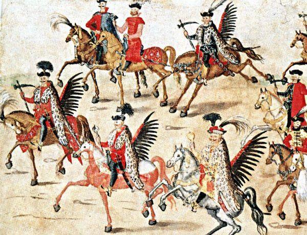 """Farbowany """"w bród"""" koń husarski na tak zwanej rolce sztokholmskiej."""