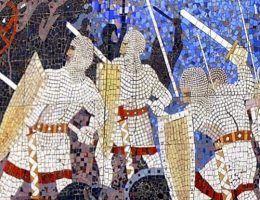 Fragment mozaiki na tak zwanej Górze Czcibora pod obecną Cedynią