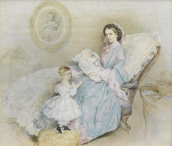 Cesarzowa Sisi z dziećmi. Tylko najmłodszą córkę, Marię Walerię, mogła wychować sama. Wyraźnie ją więc faworyzowała.