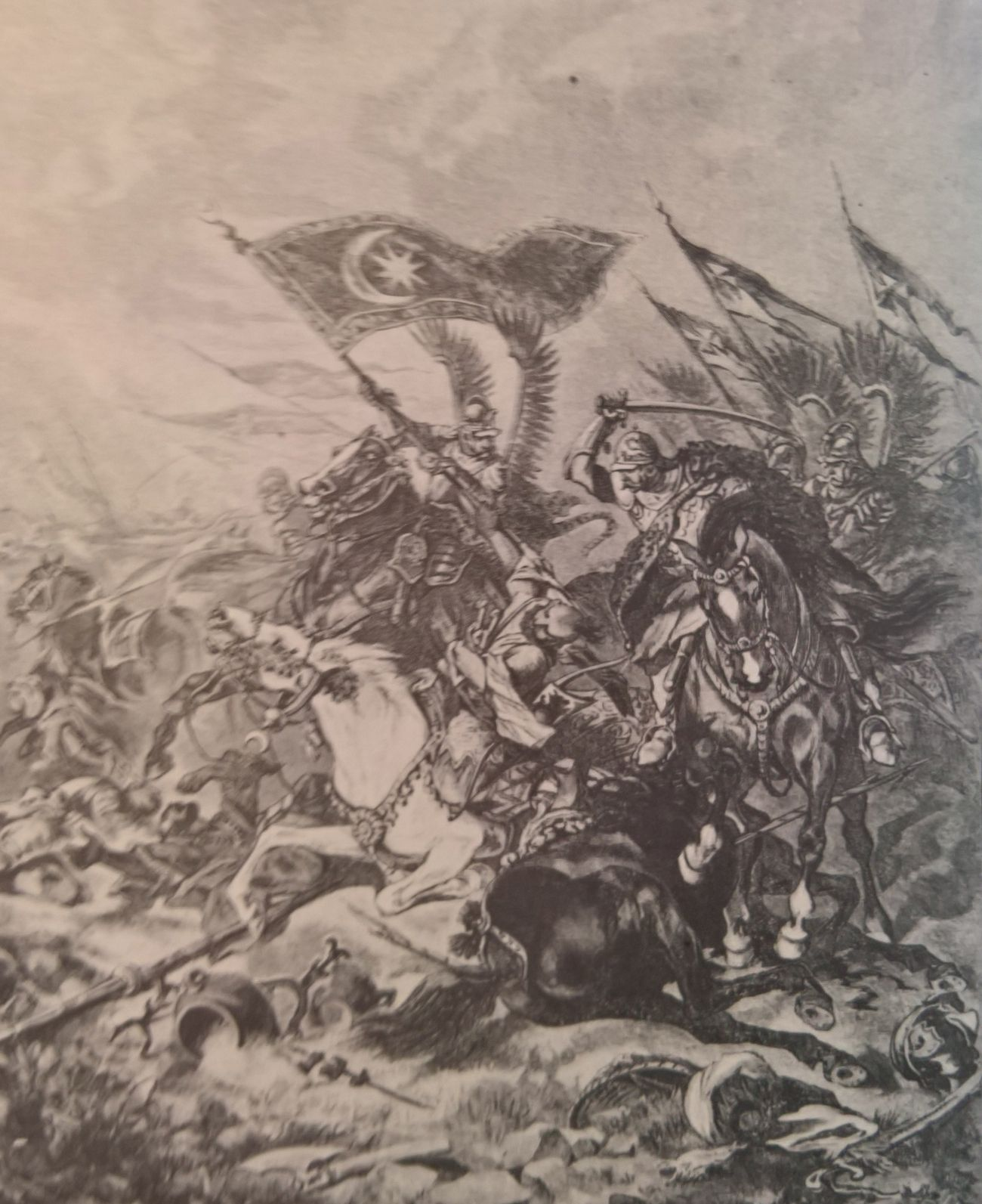Husarze rekrutowali się również z szeregów pospolitego ruszenia. Na ilustracji rysunek Juliusza Kossaka przedstawiający walkę o turecki sztandar pod Wiedniem.