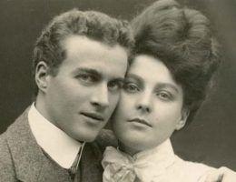 Kiedy pierścionek z diamentem stał się nieodłącznym towarzyszem zaręczyn? Na zdjęciu Lionel Logue oraz Myrtle Gruenert, 1906 rok.