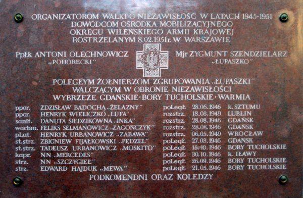 """W gdańskiej katedrze znajduje się tablica upamiętniająca żołnierzy """"Brygady Śmierci"""". Nazwisko Mordas-Żylińskiej się na niej nie znalazło."""