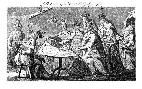 Satyryczne przedstawienie Europy w 1772 roku, rycina brytyjska (fot. domena publiczna)