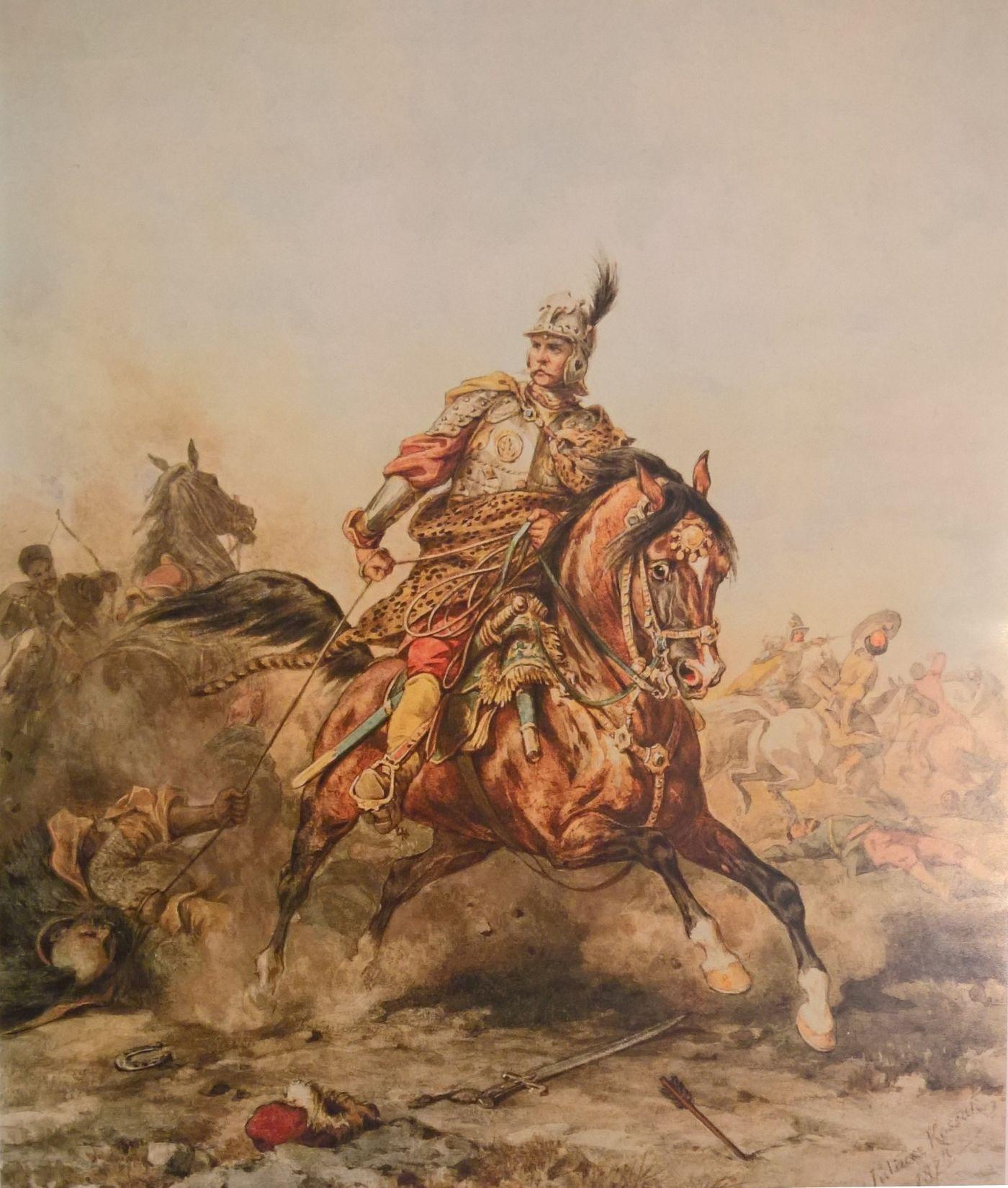 """Gustaw Adolf marzył o takiej kawalerii jak husaria. Na ilustracji akwarela Juliusza Kossaka """"Towarzysz husarski""""."""
