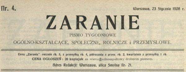 Winieta Zarania z 1908 roku