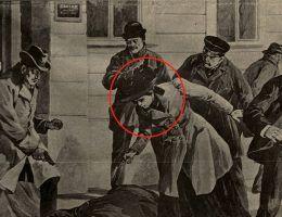 Zamach na carskiego urzędnika w wykonaniu kobiety. Rysunek Nowości Illustrowanych z 1906 roku, relacjonujących wydarzenia rozgrywające się w Warszawie