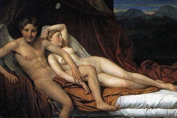 """Jeśli antyczny seks kojarzy się Wam z tym, co ogromne, nic bardziej mylnego. Starożytni cenili sobie zarówno małe biusty, jak i niewielkie penisy. Obraz Jacques-Louisa Davida """"Kupid i Psyche""""."""