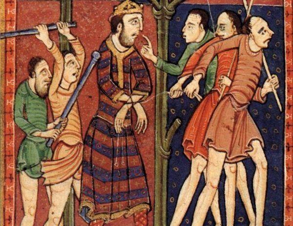 Fragment XII-wiecznej miniatury przedstawiającej męczeństwo króla Edmunda.