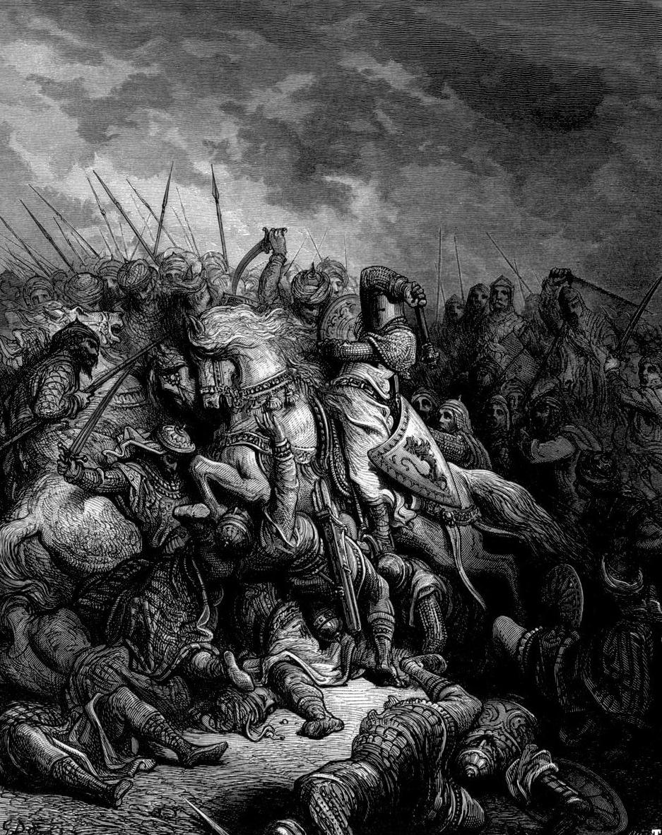 Ryszard Lwie Serce wsławił się między innymi pokonaniem wojsk Saladyna w bitwie pod Arsuf.