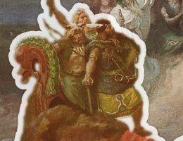 Fragment grafiki K. Górskiego przedstawiającej wydarzenia w Polsce w latach 30. XI stulecia.