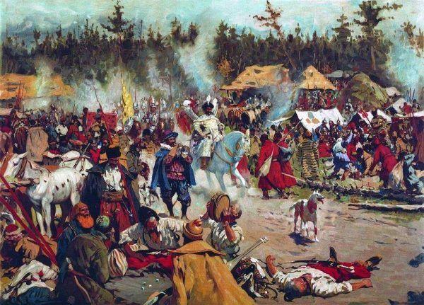 Dymitr II Samozwaniec na czele wspierającej go armii.